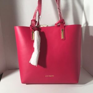 New! Joy & Iman Pink Leather Tote & Change Purse